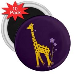 Purple Roller Skating Cute Cartoon Giraffe 3  Button Magnet (10 Pack)