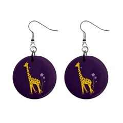 Purple Roller Skating Cute Cartoon Giraffe Mini Button Earrings by CreaturesStore