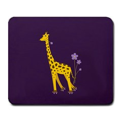 Purple Roller Skating Cute Cartoon Giraffe Large Mouse Pad (rectangle) by CreaturesStore