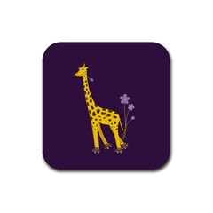 Purple Roller Skating Cute Cartoon Giraffe Drink Coasters 4 Pack (square)