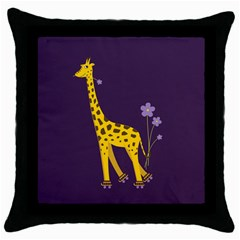 Purple Roller Skating Cute Cartoon Giraffe Black Throw Pillow Case by CreaturesStore