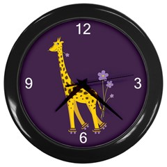 Purple Roller Skating Cute Cartoon Giraffe Wall Clock (black) by CreaturesStore