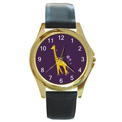 Purple Roller Skating Cute Cartoon Giraffe Round Leather Watch (gold Rim)