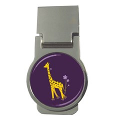 Purple Roller Skating Cute Cartoon Giraffe Money Clip (round)