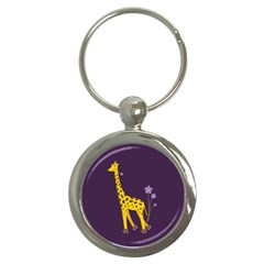 Purple Roller Skating Cute Cartoon Giraffe Key Chain (round)
