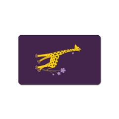 Purple Roller Skating Cute Cartoon Giraffe Magnet (name Card) by CreaturesStore