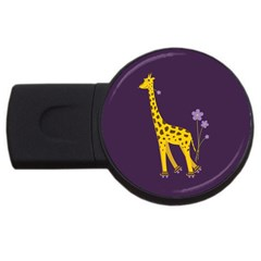 Purple Roller Skating Cute Cartoon Giraffe 2gb Usb Flash Drive (round) by CreaturesStore