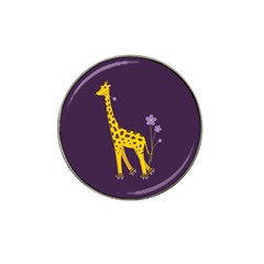Purple Roller Skating Cute Cartoon Giraffe Golf Ball Marker 4 Pack (for Hat Clip)