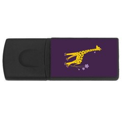 Purple Roller Skating Cute Cartoon Giraffe 4gb Usb Flash Drive (rectangle)