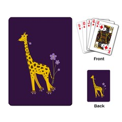 Purple Roller Skating Cute Cartoon Giraffe Playing Cards Single Design by CreaturesStore