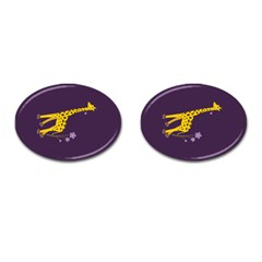 Purple Roller Skating Cute Cartoon Giraffe Cufflinks (oval) by CreaturesStore