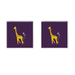 Purple Roller Skating Cute Cartoon Giraffe Cufflinks (square) by CreaturesStore
