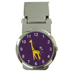 Purple Roller Skating Cute Cartoon Giraffe Money Clip With Watch