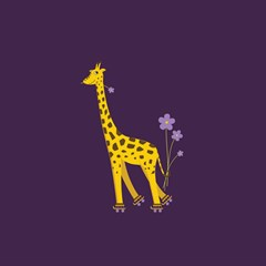 Purple Roller Skating Cute Cartoon Giraffe Canvas 20  X 20  (unframed) by CreaturesStore
