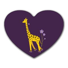 Purple Roller Skating Cute Cartoon Giraffe Mouse Pad (heart) by CreaturesStore