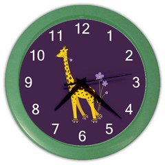 Purple Roller Skating Cute Cartoon Giraffe Wall Clock (color)