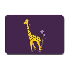 Purple Roller Skating Cute Cartoon Giraffe Small Door Mat by CreaturesStore