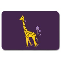 Purple Roller Skating Cute Cartoon Giraffe Large Door Mat by CreaturesStore