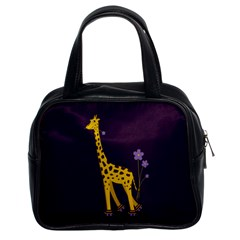 Purple Roller Skating Cute Cartoon Giraffe Classic Handbag (two Sides) by CreaturesStore