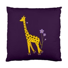 Purple Roller Skating Cute Cartoon Giraffe Cushion Case (single Sided)  by CreaturesStore