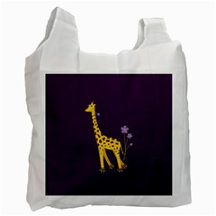 Purple Roller Skating Cute Cartoon Giraffe White Reusable Bag (one Side)