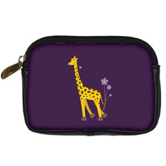 Purple Roller Skating Cute Cartoon Giraffe Digital Camera Leather Case by CreaturesStore