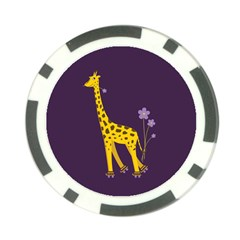 Purple Roller Skating Cute Cartoon Giraffe Poker Chip (10 Pack)