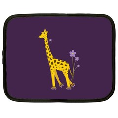 Purple Roller Skating Cute Cartoon Giraffe Netbook Sleeve (xl)