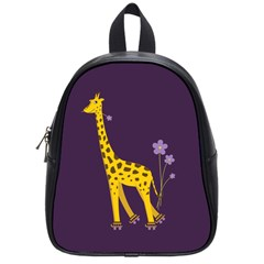 Purple Roller Skating Cute Cartoon Giraffe School Bag (small) by CreaturesStore