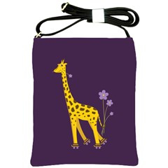 Purple Roller Skating Cute Cartoon Giraffe Shoulder Sling Bag