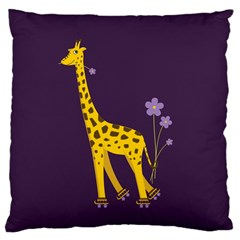 Purple Roller Skating Cute Cartoon Giraffe Large Cushion Case (two Sided)  by CreaturesStore