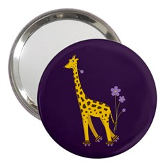 Purple Roller Skating Cute Cartoon Giraffe 3  Handbag Mirror by CreaturesStore
