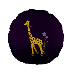 Purple Roller Skating Cute Cartoon Giraffe 15  Premium Round Cushion  by CreaturesStore