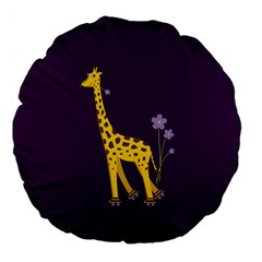 Purple Roller Skating Cute Cartoon Giraffe 18  Premium Round Cushion
