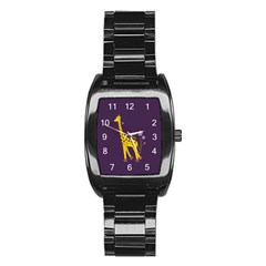Purple Roller Skating Cute Cartoon Giraffe Stainless Steel Barrel Watch by CreaturesStore