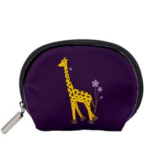 Purple Roller Skating Cute Cartoon Giraffe Accessories Pouch (small) by CreaturesStore