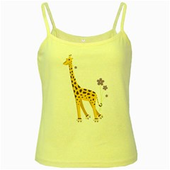 Cute Roller Skating Cartoon Giraffe Yellow Spaghetti Tank