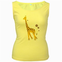 Cute Roller Skating Cartoon Giraffe Women s Tank Top (yellow) by CreaturesStore