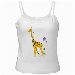 Cute Roller Skating Cartoon Giraffe White Spaghetti Top