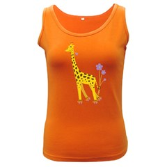 Cute Roller Skating Cartoon Giraffe Women s Tank Top (dark Colored) by CreaturesStore