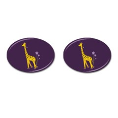Cute Roller Skating Cartoon Giraffe Cufflinks (oval) by CreaturesStore