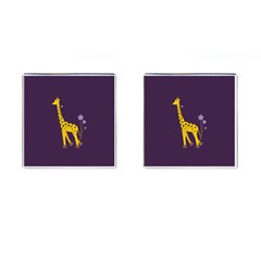 Cute Roller Skating Cartoon Giraffe Cufflinks (square)
