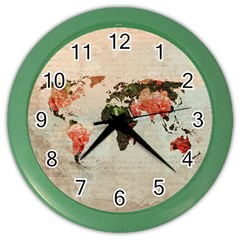 Vintageworldmap1200 Wall Clock (Color) by mjdesigns