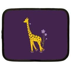 Purple Cute Cartoon Giraffe Netbook Sleeve (xl)