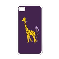 Purple Cute Cartoon Giraffe Apple Iphone 4 Case (white)