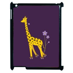 Purple Cute Cartoon Giraffe Apple Ipad 2 Case (black)