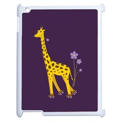 Purple Cute Cartoon Giraffe Apple Ipad 2 Case (white) by CreaturesStore