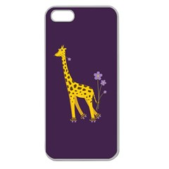Purple Cute Cartoon Giraffe Apple Seamless Iphone 5 Case (clear) by CreaturesStore
