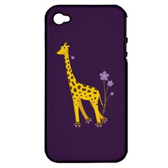 Purple Cute Cartoon Giraffe Apple Iphone 4/4s Hardshell Case (pc+silicone)