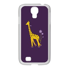 Purple Cute Cartoon Giraffe Samsung Galaxy S4 I9500/ I9505 Case (white) by CreaturesStore